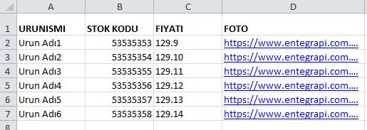 XML ve Excel ile Toplu Ürün Yükleme 2